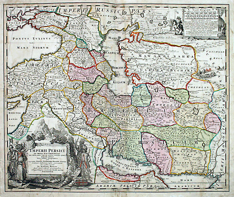 Map of Persia (Iran) in Safavid era by Johann Baptist Homann (1644–1724)
